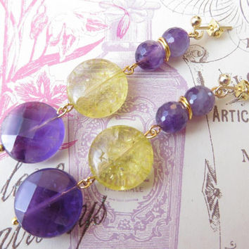 Amethyst earrings with yellow lemon quartz disc shape italian gemstone jewellery uk stone jewelry