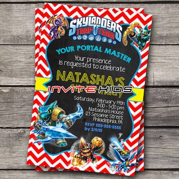 New Update Skylanders Red Chevron - Invitation Card - Birthday Party Kids - InviteKids