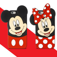 2016 fashion 3D cartoon mickey minnie mouse silicone soft gel case cover for iphone 4 4s 5 5s SE 6 6s 6 S 7 plus cases