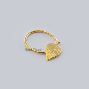 Handmade Leaf Gold Plated 925 Sterling Silver Nose Ring, Septum Piercing - Nose Jewelry - Real Septum - Nose Hoop - #6696