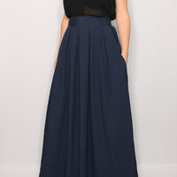Navy skirt Women Chiffon maxi skirt High waisted maxi skirt with pockets