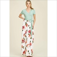 short sleeve high waist wrap front maxi dress- THE COLORS ARE SWITCHED ON THIS- WHITE ON TOP & MINT ON BOTTOM