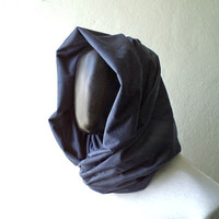 Men Infinity scarf, Vegan cowl, hoodie, navy blue FAUX SUEDE, super soft, lightweight and cozy,Extra WIDE.Ready To SHIp.