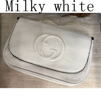 GUCCI new leather shoulder bag handbag small Messenger bag Milky white
