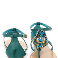 Bamboo Wonderful 10 Teal Rhinestone Embellished Thong Sandals
