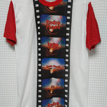 Radio Shack vintage T shirt 70's 80's promo A Tandy Company camera film image single stitch raglan tee paper thin Large Polyester