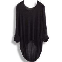 New Casual Batwing Loose T-shirt Asymmetric Waistcoat Pullover Black