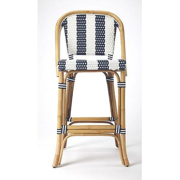 Butler Rattan Blue and White Barstool