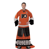 Philadelphia Flyers NHL Adult Uniform Comfy Throw Blanket w- Sleeves