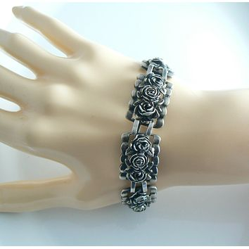 Gorgeous Sterling Silver Flower Art Deco Bracelet