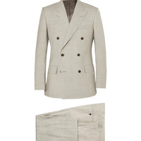 Kingsman - Stone Slim-Fit Double-Breasted Wool and Linen-Blend Suit | MR PORTER