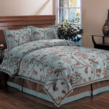 HFI Bella Floral 4-pc. Comforter Set (Blue)