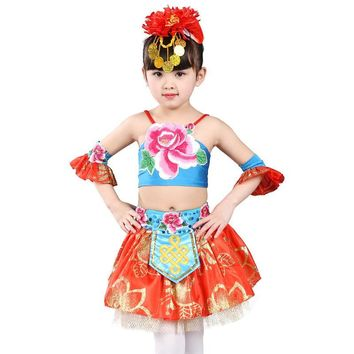 modern dance costume Children Colorful Skirt Dance Costumes Stage Performance Clothing dance costumes for kids salsa dress girls