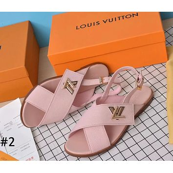 LV tide brand female models lychee pattern fashion casual hipster beach sandals #2