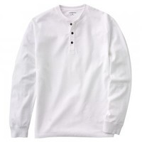 Mens Henley Shirt Top Long Sleeve Sz XL White Sueded NEW