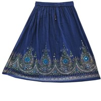 Skirt for Womens Blue Dcrapechic Rayon Sequin India Hippie Skirts, Gift Idea