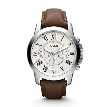 Grant Chronograph Leather Watch, Brown/ Off-White | FOSSIL