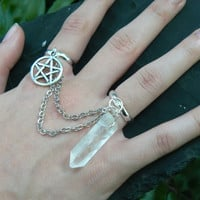 pentagram ring wiccan ring quartz double ring pentacle witch ring crystal Wicca slave ring magic jewelry gypsy jewelry