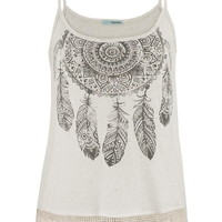 Dreamcatcher Graphic Print Tank Top - Beige