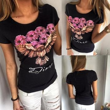 Flowers Owl Casual Print Shirt Blouse Tops