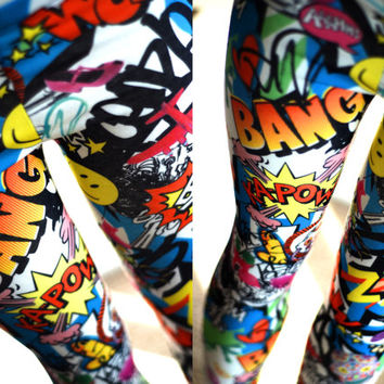 NEW Girls baby todler Teenager Comic Book Love Heart Graffiti Bang Zap Star Smile Batman super hero Leggings tights