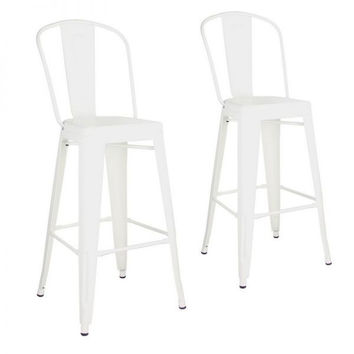 Glossy White Farmhouse Metal Bar Stools With Back (Set Of Two)