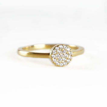 Full Moon Ring, Single Pave Simple Round Bubble Gold or Silver Tone Everyday Ring