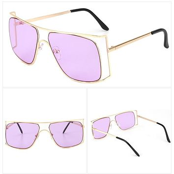 ROYAL GIRL Women Sunglasses Unique Oversize Frames Vintage Metal Frame Shades Pink Eyeglasse Oculos De Sol ss203