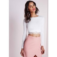 Long Sleeve Eyelash Lace Insert Crop Top White
