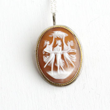 The Three Graces Antique Carved Cameo Pendant Brooch-  Early 1900s Art Deco 800 Silver Greek Goddess Jewelry