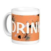 Coffee Cup DRINK ME Coral, Black, Grey Splattered