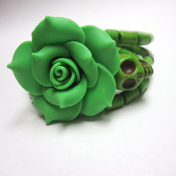 Sugar Skull Bracelet Day Of The Dead Jewelry Wrap Green Rose