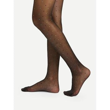 Mixed Dot Overaly Pantyhose Stockings