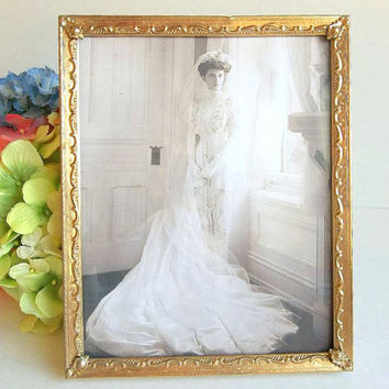 Vintage Gold tone picture frame, Mid Century old photo frame, 8x10 tabletop or wall hanging frame ornate goldtone frame