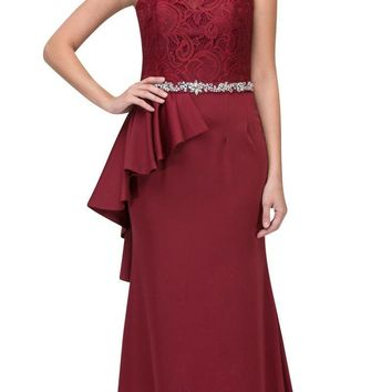 Burgundy Long Formal Dress Embellished Waist with Ruffles