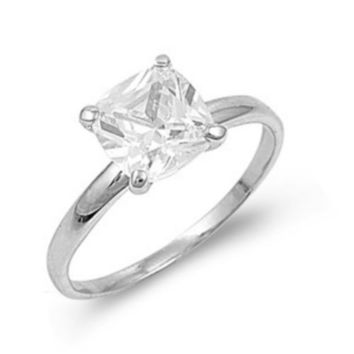 Sterling Silver CZ Princess Cut Engagement Ring size 3-10