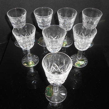 "Waterford Lismore Cordial Glasses 3 1/2"" Set Of 8 With Paper Tags Gothic Signed In Original Box"