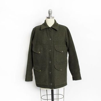 Vintage FILSON Jacket - Women's Forest Green Wool MACKINAW Cruiser - Small