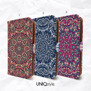 Mandala floral iPhone 6 iPhone 4/4s 5/5s 5c MotoX PU leather flip case - vintage retro colorful wallet cover case for Samsung S3 S4 S5 - N15
