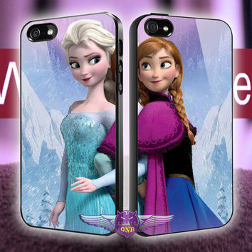 disney frozen anna and elsa Couple case MJ7 design for iPhone 4/4s, iPhone 5/5s/5c, Samsung Galaxy S3/S4 Case