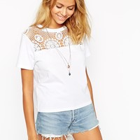 ASOS T-Shirt with Crochet Neck Trim