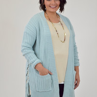 Pastel Blue Lace up Cardigan with Pockets