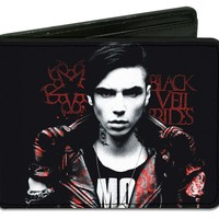 Black Veil Brides Men's Andy Pose Logo Bi-Fold Wallet