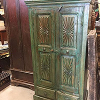 Reclaimed Indian Wood Cabinet Green Patina Armoire Sun Rays chakra Carved Rustic Storage Chest