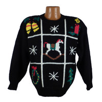 Ugly Christmas Sweater Vintage 1980s Tacky Holiday Party Squares
