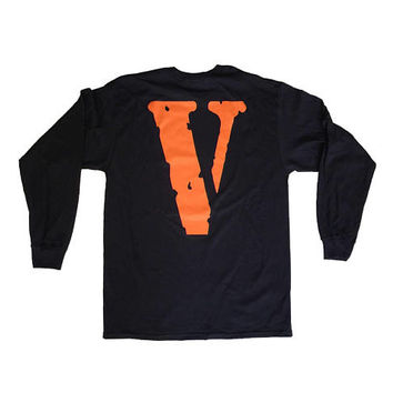 VLONE Friends Black Long Sleeve T Shirt VLONE Fragment Off White ASAP Rocky T-Shirt