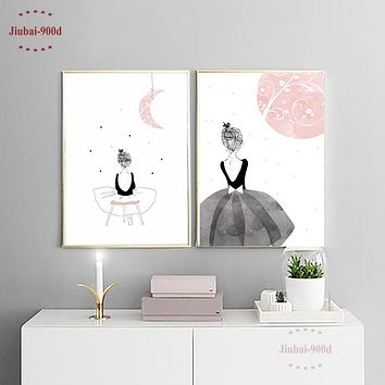 Watercolor Girls Canvas Art Print Painting Poster, Wall Pictures for Home Decoration Wall Art Decor CM022M