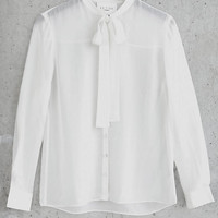 Ivory Express Edition Silk Chiffon Tie Neck Blouse from EXPRESS