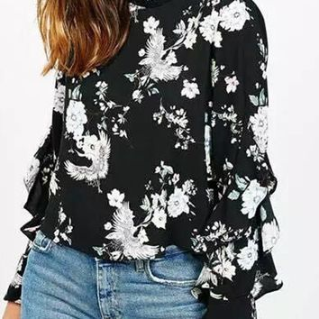 Women Spring Summer Long Sleeve Tops Floral Ruffle Black Chiffon