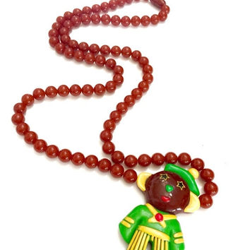 Whimsical Les Nereids Paris Resin Necklace,  Multi Colored Resin Crib Toy, French Sailor , Amber Yellow Red Green Long Necklace,